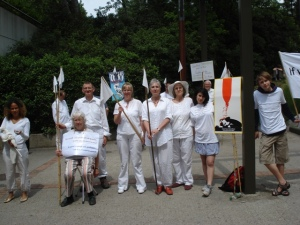 This picture shows a group of Quakers holding a vigil at Eurosatory (2010) the biennial arms fair held on the outskirts of Paris. Quakers have had a presence there, protesting against the arms trade for many years