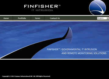 Screengrab from the website of FinFisher: 'Governmental IT Intrusion and Remote Monitoring Solutions'