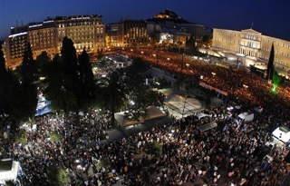 Start of the protest against IMF's austerity measures in Europe in Syntagma Square in Athens, May 2011, gathering 100 000 people