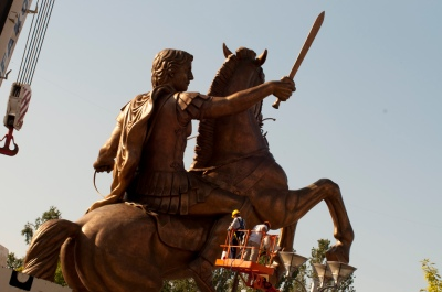 Violent Masculinity Under Construction: A statue of Alexander III of Macedon (known to some as Alexander the Great) has been built in the centre of Skopje. Photo: Mite Kuzevski, CC