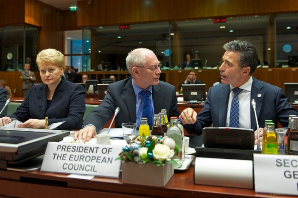 In December 2013 Heads of Government from all EU Member States prioritised development of military capabilities and the strengthening of defence industries. Photo: Council President Herman Van Rompuy at the summit with NATO Secretary-General Anders Fogh Rasmussen. Credit:  EPP, CC.