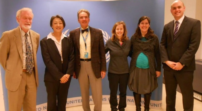 QCEA and International Peace Bureau colleagues with Alfred de Zayas in Brussels, May 2014. Photo Credit: UNIE