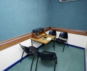 Police interview room in Birmingha, UK. A lonely place without a lawyer. Photo: West Midlands Police, CC.