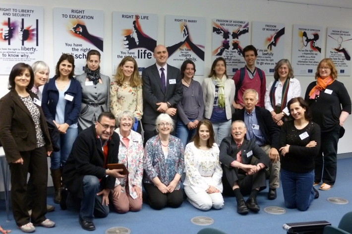 Quaker Study Tour visiting the European Court of Human Rights in 2014.