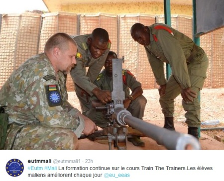 Solider in EU mission training in Mali. Credit Twitter June 2015 @eutmmali1