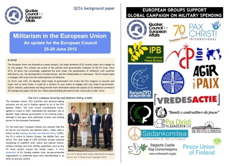 QCEA's recent publication about EU militarism, and the statement of 17 peace groups calling for the EU to consider alternatives to military capacity development. Both are available from the hyperlinks below.