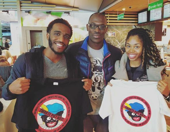 Nyle Fort and Derecka Purnell in Amsterdam with anti-Zwarte Piet t-shirts, October 2015 Credit Nyle Fort.