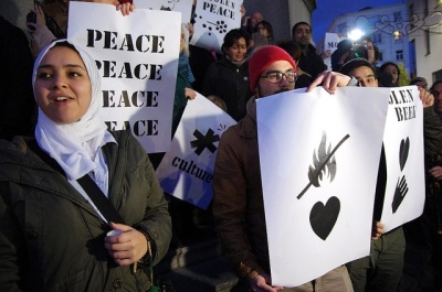 Molenbeek silent peace vigil. 18 November 2015. Credit: Hans Soete